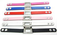 Unisex fashion square - 6PCS Floating charm locket Leather Bracelet Square magnetic glass Fashion bracelet Mix Color Zinc Alloy