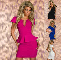 Night Out & Club bandages business - 4 Color Plus Size New Sexy Peplum Bodycon Bandage Dress Elegant OL Business Dress Women Work Wear Summer Casual Dress