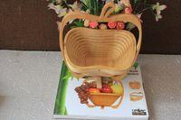 Wholesale Bamboo Folding Fruit Veg Basket Foldable Fruit Veg Bowl Basket Apple Design