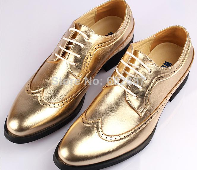 New Arrival Brand Gold Men's Dress Shoes Men's Leather Dress Shoes ...