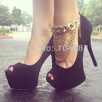 Wholesale Style AK Women Fashion Gold Plated Chain Anklet Chunky Chain Ankle Four Layers Boots Ankle Chain Jewelry