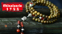 Wholesale DIY craft miao vermillion agate green ebony multilayer rosary beads bracelet with female for