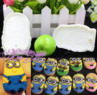 Wholesale 2pcs D Minions Baking Mold Sugarcraft Fondant Cake Decorating Tools Plunger Cookie biscuit Cutter Candy Chocolate Mould Bakeware
