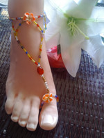 Wholesale barefoot sandals body jewelry stretch anklet chain with toe ring cheap glass barefoot sandal pearls chain handmade beachwear colorful
