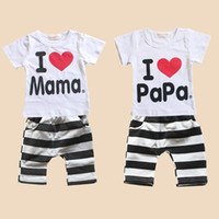 Unisex Summer Short I Love Papa Mama Baby T-shirt Girls Boys Children Clothes Summer Short Sleeve T shirt Stripe Pants Set Kids Tracksuit Outfit Clothing