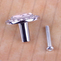 Ceramic Furniture Handle & Knob  New Round Clear Crystal Glass Pull Handle Cupboard Wardrobe Drawer Cabinet Knob #24528