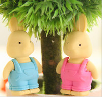 Wholesale Wear overalls cute rabbit cartoon rubber eraser Korea