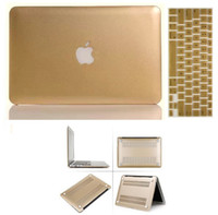 Wholesale Gold Golden Matte Rubberiz Hard Case Cover Shell Logo Free Keyboard Skin For Macbook Air quot quot Pro quot quot Pro Retina quot quot