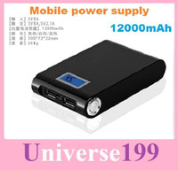 Al por mayor - de alimentación de alta capacidad de la mano lámparas banco de la energía banco portable móvil 12000mah barato