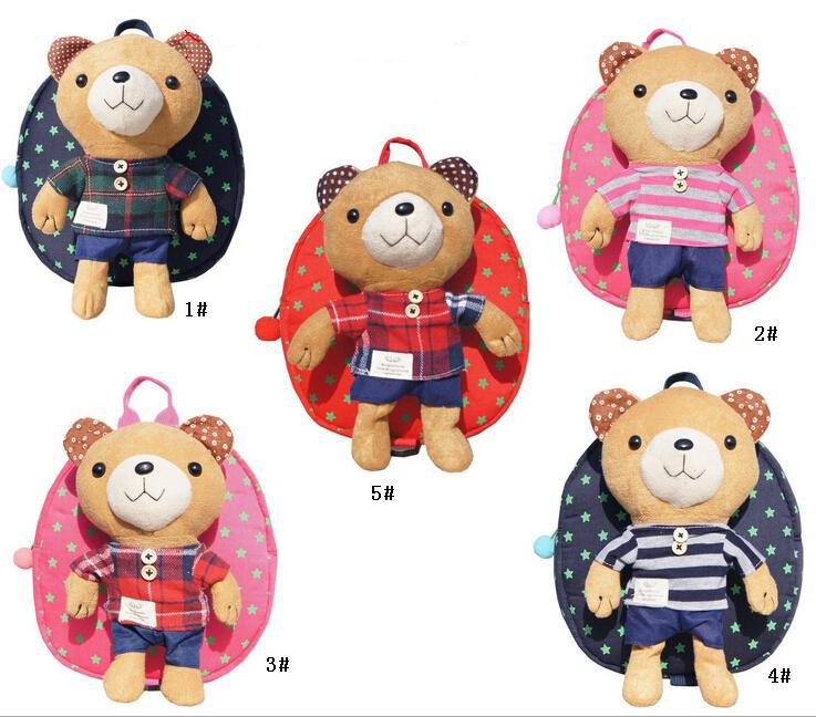Cute Baby Child Kid Canvas Backpack Children Backpack Little Bear ...