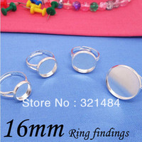 Connectors Jewelry Findings Yes Wholesale 200 pcs 16mm Silver Plated Adjustable Ring Bases Blanks Settings For Jewelry