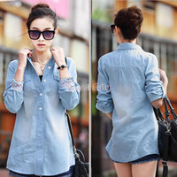 Women 100% Linen Cotton,Polyester Spring Autumn 2014 New European Style Women Clothing Denim Slim Jeans Shirt Lady Women's Shirt #12 SV005390