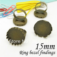 Connectors Jewelry Findings Yes Wholesale 100pcs Antique Bronze 15mm Round Cabochon Settings, w Crown Pad Adjustable Bezel Ring Blank Ring Base