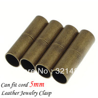 Cheap Wholesale 500pcs 6*20mmhole size 5mm Antique bronze brass Leather jewelry tube magnetic clasp end caps for leather cord