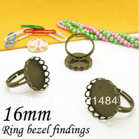 Connectors Jewelry Findings Yes Wholesale 200pcs Antique Bronze 16mm Round Cabochon Settings, Lace Pad Adjustable Bezel Ring Blank Ring Base