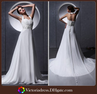 Wholesale Out Door A Line Beach Wedding Dresses Sexy Backless Court Train Appliques Beads Long Bride Dress Chiffon Wedding Bridal Gowns Dresses
