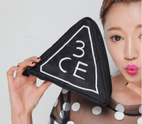 black Plastic Bag 2014Hot sale Korean STYLENANDA 3CE high quality triangl fashion black makeup cosmetic bag beauty porrable bag organizer cosmetic case B5 20
