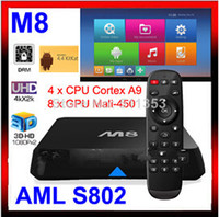 Wholesale Original M8 Amlogic S802 Android TV Box Quad Core XBMC TV Box Android Kitkat K HDMI G G Dual WiFi