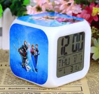 Wholesale 2014 New Arrival Customization Europe Frozen Elsa Anna Clocks Cartoon Change Colorful Children Girls Boys High Quality LED Alarm Clock E0246