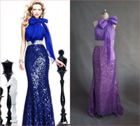 Reference Images High Neck sequined fabric 2014 High Neck Evening Dresses Royal Blue Mermaid Long with Silver Belt Sequined Formal Gowns Tarik Ediz Hot Sale Party Gown Real Picture