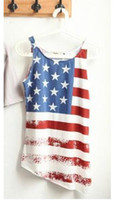 Women V-Neck Tops East Knitting fashion LW-019 new arrive womens tops for summer 2013 USA flag tank tees womans t shirts free shipping