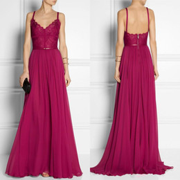 2017 Hot Sale Long Evening Dress Lace V-Neck A Line Long Sweep Train Chiffon Sexy Backless Sash Maxi Party Gowns Modest Formal Women Gowns