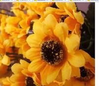 Wholesale Sunflower bouquet party decora15 flower head simulation flower home decoration silk flower