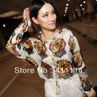 Women V-Neck Regular 2014 new fashion plus size women t shirt clothing korean style punk sexy tops tee clothes Long sleeve T-shirt Retro Tiger
