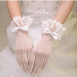 Wholesale Bowknot Bride Gloves Flower Long Finger Bridal Gloves White Ribbon translucence Gloves Bag Gloves Wedding Bridal Gloves