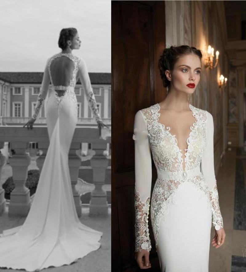 2014 designer haute couture long sleeve v neck sheath vintage lace bridal dresses with fishtail hollow back wedding gown sexy mermaid dresses sexy mermaid