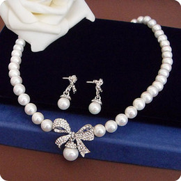 Pretty Cream Pearl Necklace&Earrings Bowknot Jewelry Sets,Wedding Pearl Jewelry 661