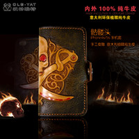 Wholesale HongKong OLG YAT Handmade leather carving Skull IPhone4s s phone cases Italian tanned Pure leather phone sets high end mobile phone case