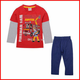 Wholesale NOVA Winter children cartoon pajamas fireman sam print Baby boys sets long sleeve pajamas
