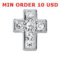 Wholesale CRYSTAL SILVER CROSS Floating charms for memory living locket