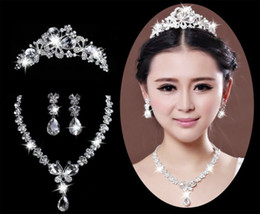 Wholesale FJ0109 NEW In Stock Bridal Crown Tiara Necklace Earrings Set For Bride Rhinestone Crystal Wedding Jewelry Accessories Fast Shipping