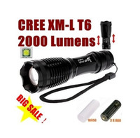 Wholesale UltraFire Flashlight CREE XM L T6 Lm Mode LED CREE Flashlight Battery Casing AAA Battery Holder Charger Zoomable Torch