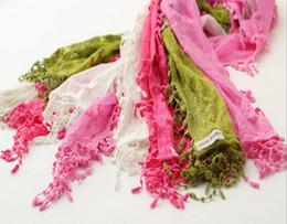 Wholesale Spring autumn children scarves fashion lace crochet tassel kids scarf child neckerchief girls scarves colour SM121