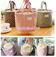 Wholesale Drawstring Lunch Bag Portable Linen Lace Thermal Cooler Insulated Picnic Pouch Storage Box Dinnerware Tool Colors