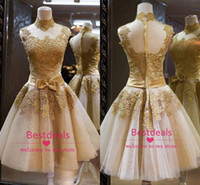 Gold lace sheer homecoming dresses 2014 high collar bow sash...