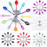 Shadeless Modern Wall Mouted New 2014 Novelty Items Fork and Spoon Design Needles Electronic Quite Wall Single Clocks Geek Watch Rustic Home Decor Decoration