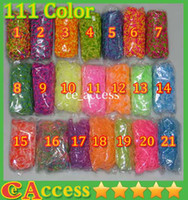 Wholesale 111 color Rainbow Loom Kit DIY Wrist Bands Rainbow Loom Bracelet for kids bands C clips Factory Price Free DHL