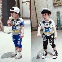 Wholesale 2014 Brand New Boys Suits Cotton Kids Mickey Mouse Tshirts and star pattern Harem Pants Tops Hot Sale LS18