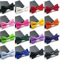 Wholesale 16 Colors Children Kids Boys Toddler Infant Solid Bowtie Pre Tied Wedding Bow Tie silk tie black and white necktie silk jacquard CA07001