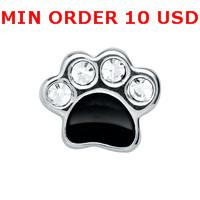 Wholesale CRYSTAL SILVER DOG PAW Floating charms for memory living locket