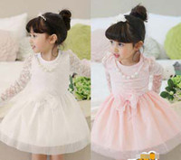 Wholesale Autumn Children s Clothes Cotton Lace Hollow Long Sleeve Princess Girls Dresses Puff Gauze Pearl Chain Bowknot Pink White Girl Dresses K0208