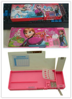 Wholesale EMS Princess Girls Birthday Gifts Frozen Elsa Anna Pencil Box Kids Learning Toys Learn Accessories Pen Boxex Pink Blue D2245