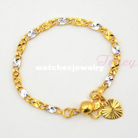 Trendy Girls Fashion Wholesale-407-2014 Baby kids Silver Yellow Gold Filled 18k Bracelet Chain Link Heart Bell Charm Bracelet Anklets Cute