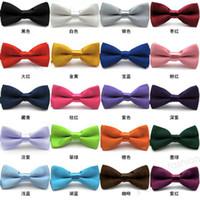 Wholesale High Quality Solid Color Mens Neck Bowtie BOW TIE Pre tied Adjustable Imitation Silk Bow Tie Can Choose Color CA07001