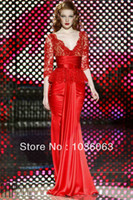 Cheap Reference Images 2014 evening dresses Best V-Neck Elastic Satin Mermaid party gown