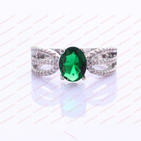 Wholesale Jewellery Brand New Fashion lady s kt white Gold filled emerald ring size